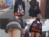 短すぎるスカートから水玉パンツがチラチラ!下校中の女子たちを逆さ撮り